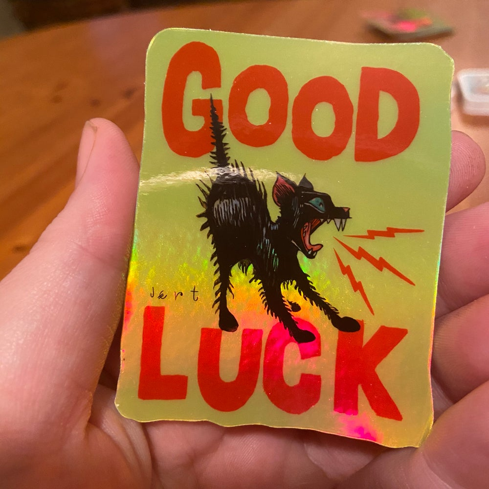 Image of FREE SHIPPING-HOLOGRAM- GOOD LUCK STICKER
