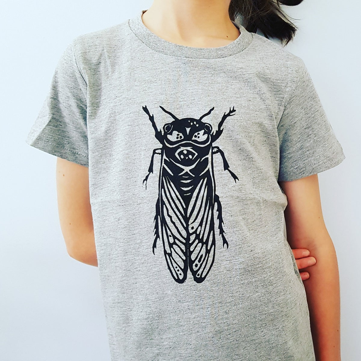 Image of Kids T-Shirt - Cicada - Grey, Green, Blue or Gold