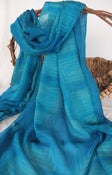 Image of Shibori dyed - Jade and Blue Wool/Silk Scarf