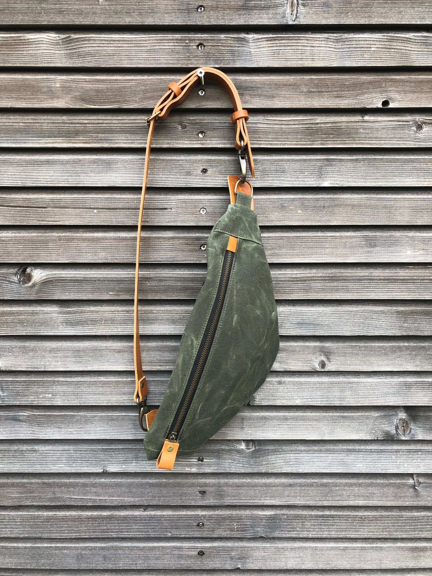 Image of Waxed canvas fanny pack / chest bag / day bag/ with leather shoulder strap