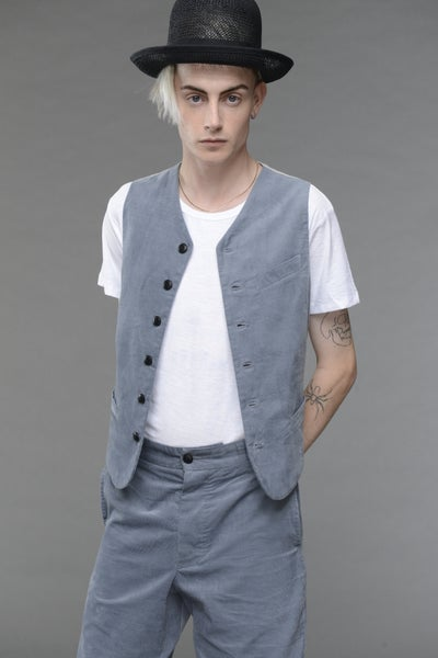 Image of California Summer Corduroy Waistcoat LIGHT BLUE