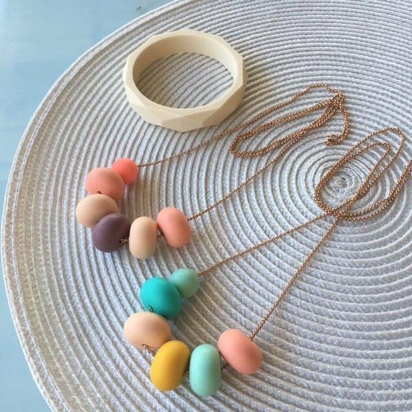 Image of OLIVIA Necklace - Mint/ Coral