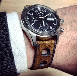 Image of Heavy Distressed Boar rally watchstrap - Burnt&Waxed