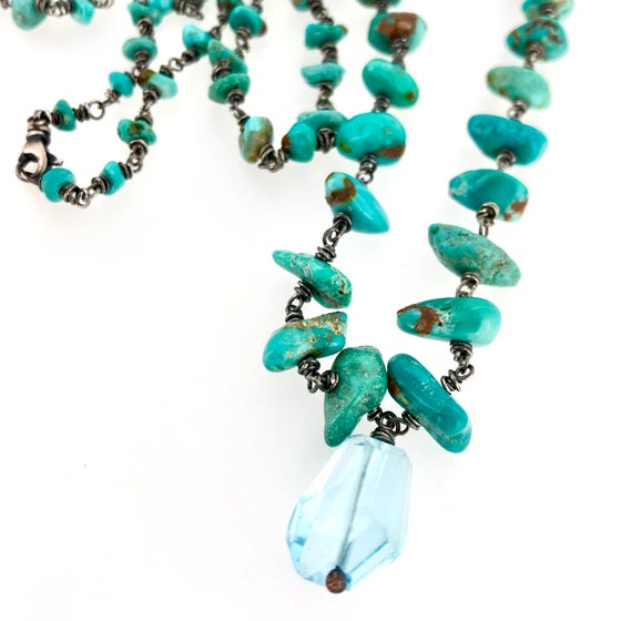 Image of Fox turquoise mala necklace