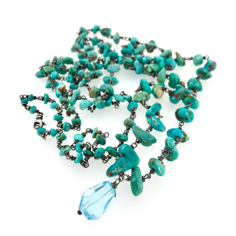 Image of Fox turquoise mala necklace