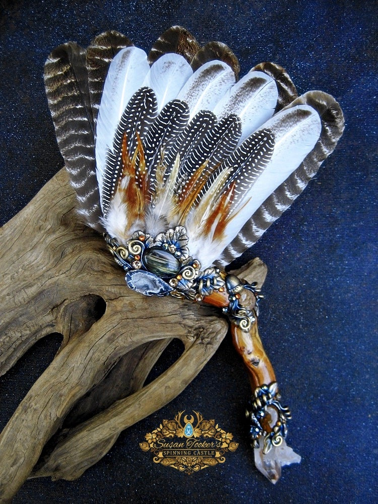 Image of GOLDEN WOOD GAIA - Turkey Feather Ritual Smudge Fan Labradorite Quartz Crystal Witchcraft Pagan Art