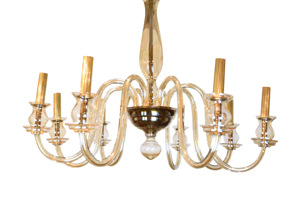 Image of Vintage Italian Murano Glass Chandelier