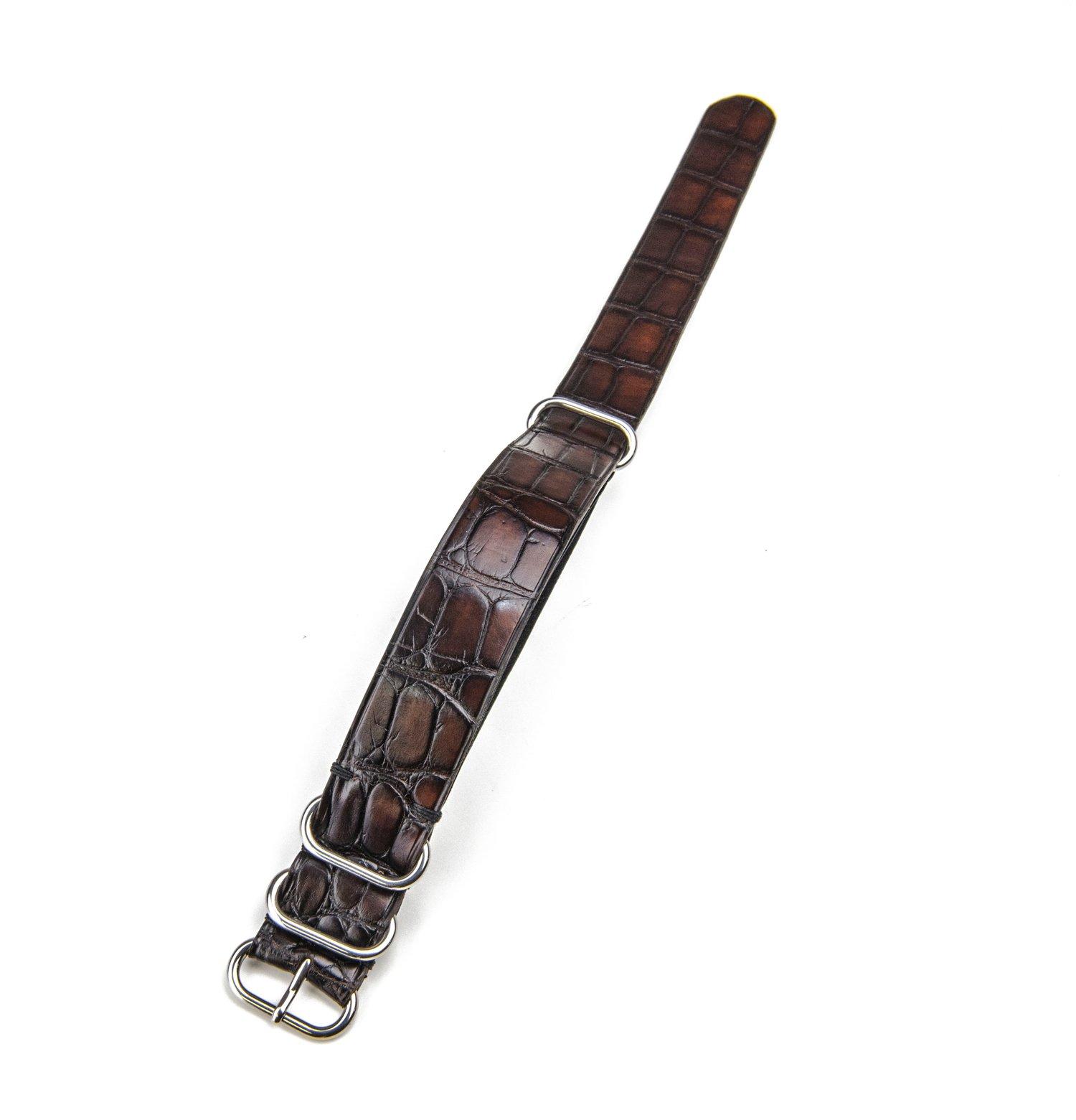 Image of Patina Brown Alligator NATO strap