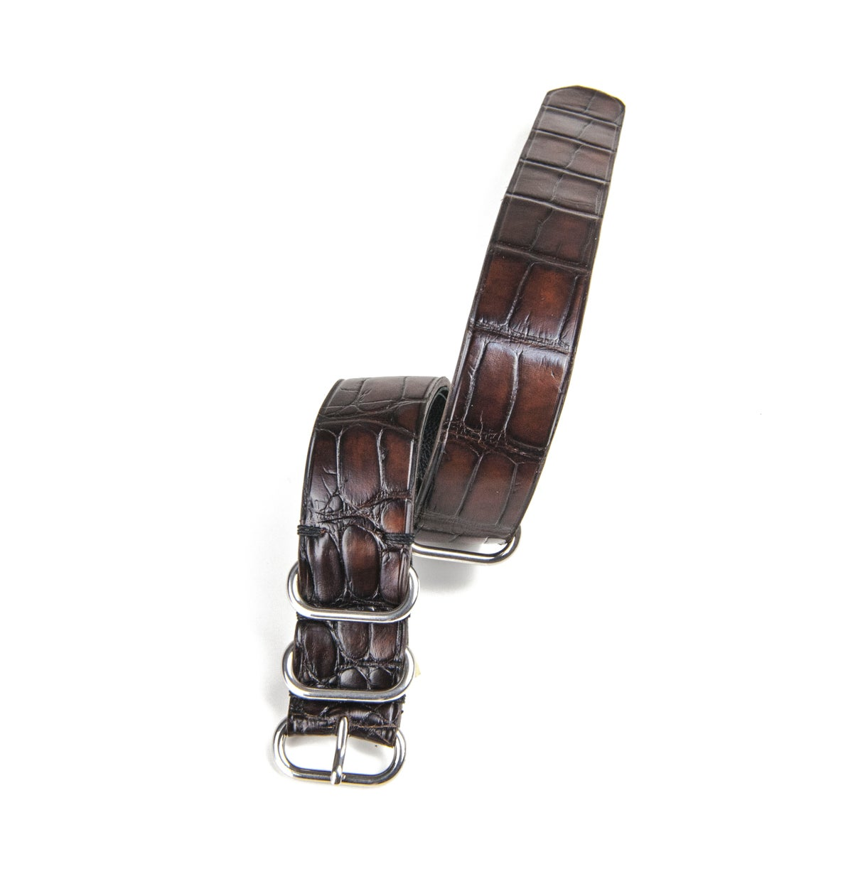 Image of Hand-Patina Brown Alligator NATO strap