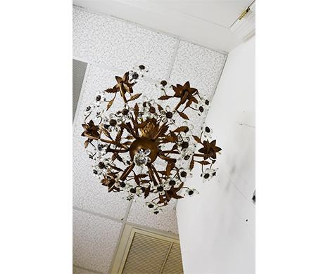 Image of Vintage French Metal and Crystal Flower Chandelier