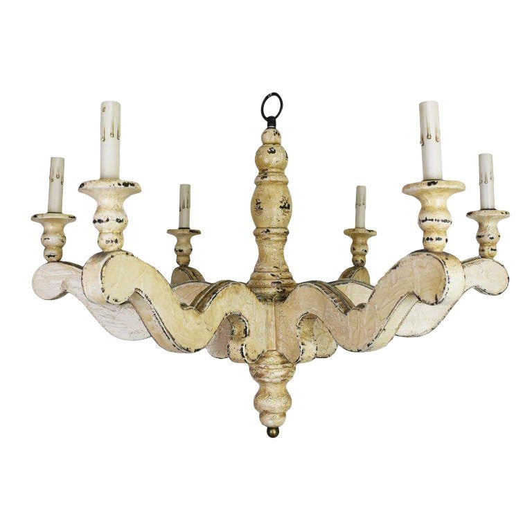 Image of Vintage Painted Wood Chandelier