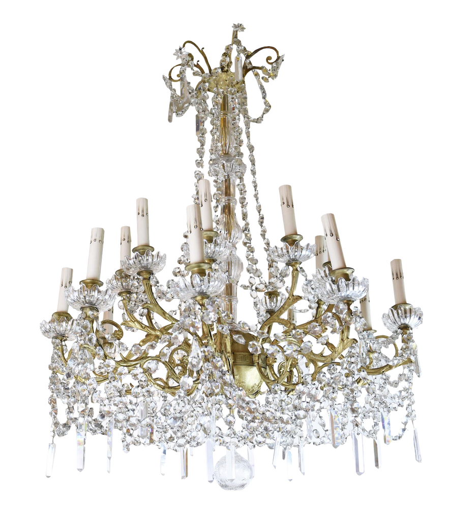 Image of Early 20th Century French Dore' Bronze and Crystal Two Tier Chandelier