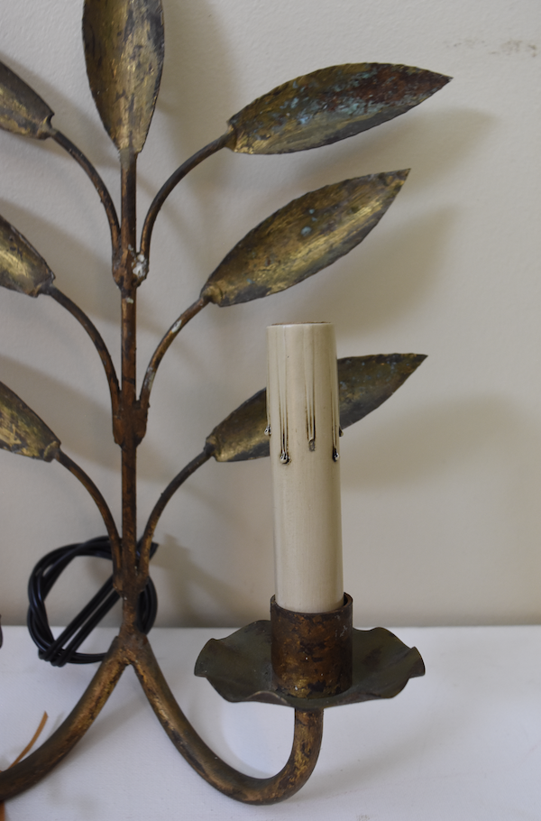 Image of Pair of Vintage Gold Leafy Sconces From Barcelona