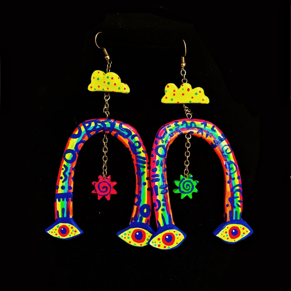 Image of Four eyes - Hand sculpted earrings