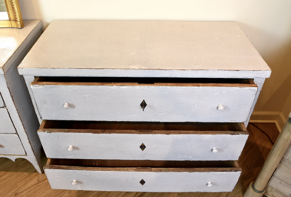 Image of Vintage Blue Scalloped Commode From Portugal