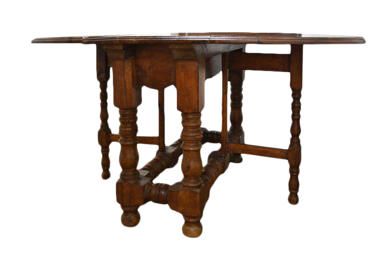 Image of 19th Century French Drop Leaf Table With Turned Legs