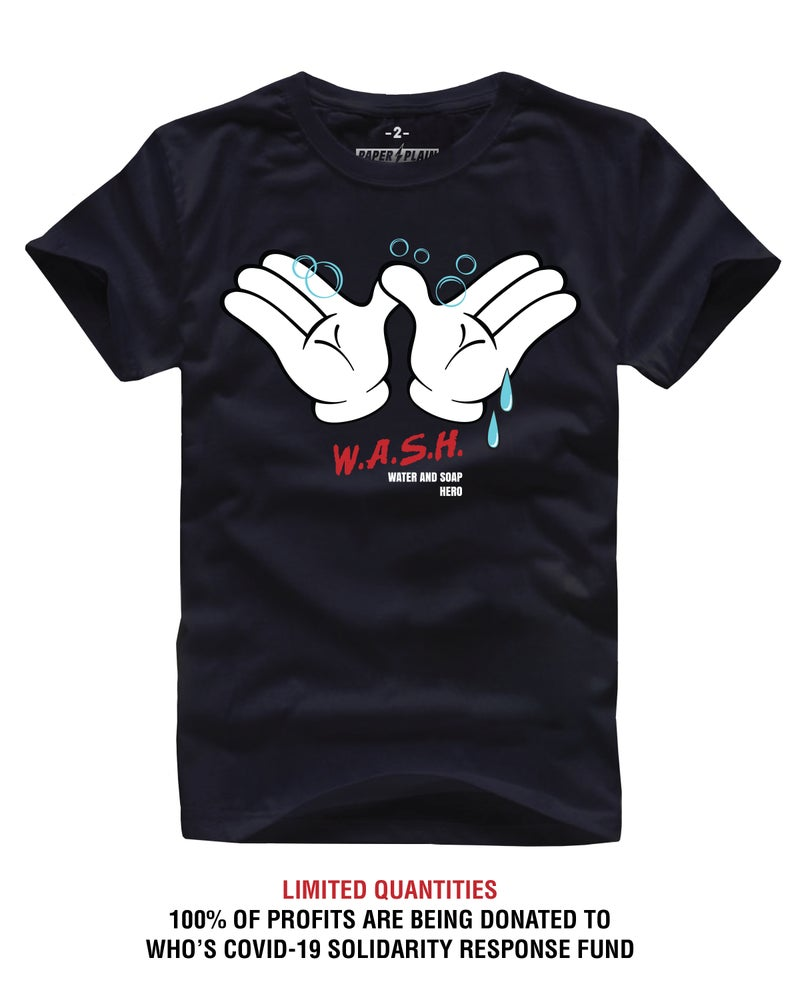 Image of WASH SUPPORT TEE BLACK (COVID-19 SOLIDARITY RESPONSE FUND)