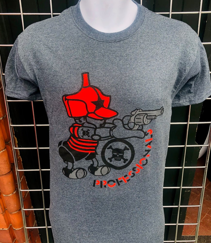 Image of The PROFESSIONALS 'Vintage Gun' Design Grey T-Shirt.
