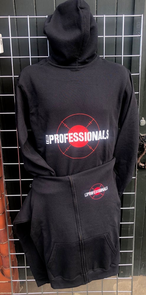 Image of The PROFESSIONALS 'Target' Design Black Zip Front Hoodie Sweatshirt
