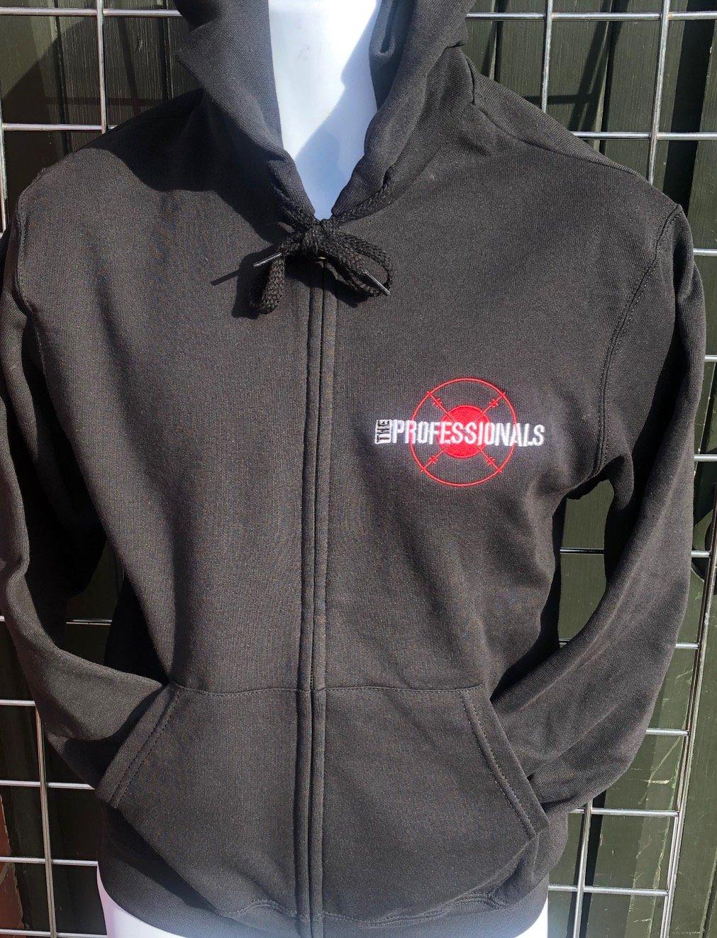 Image of The PROFESSIONALS 'Target' Design Black Zip Front Hoodie Sweatshirt
