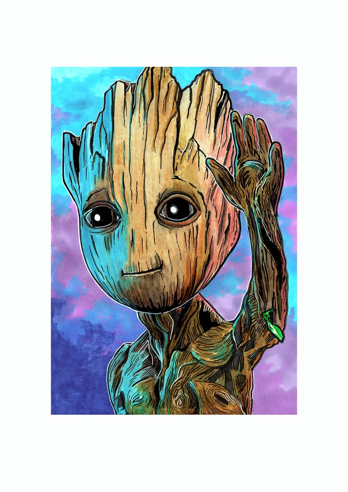 Image of Baby Groot Hand Drawn Illustration Signed Print
