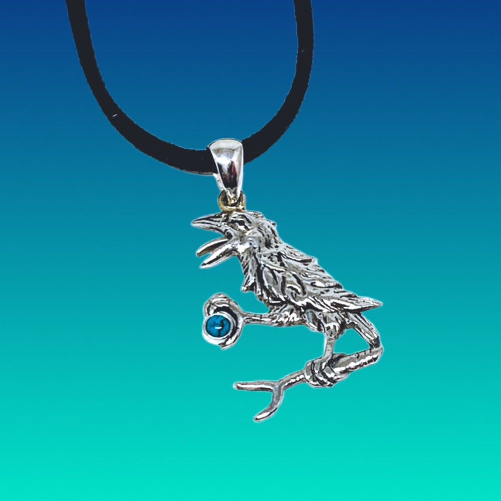 Image of The Raven Pendant Cast in Sterling with Turquoise Stone