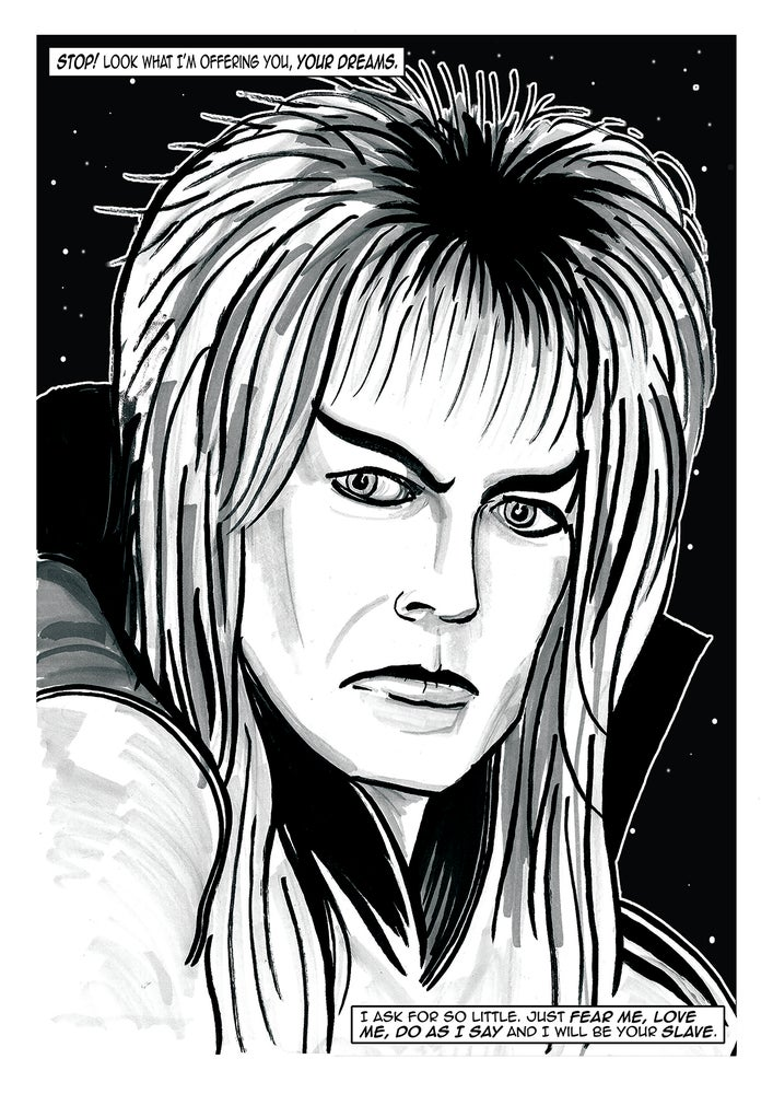 Image of 'Jareth The Goblin King' Hand Drawn A3 Illustration Signed Print Labyrinth