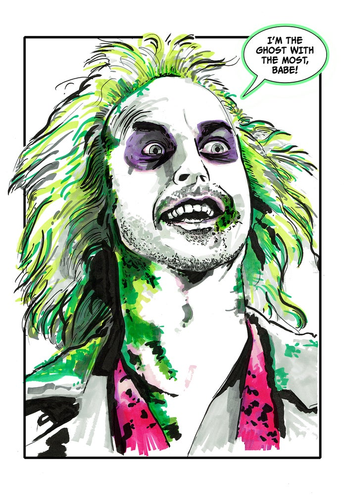 Image of Beetlejuice Comic Style Illustration Signed A3 Print