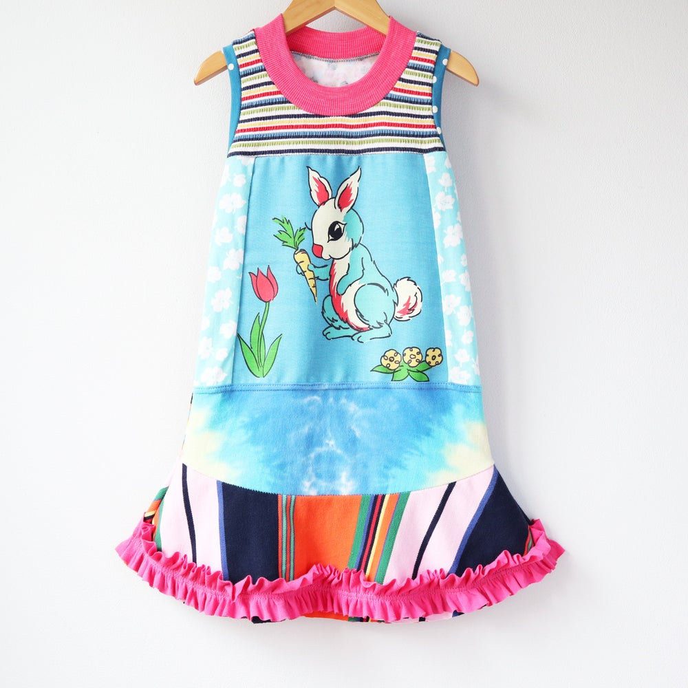 Image of tulip garden 4/5 bunny easter rabbit tiedye pink ruffle ruffles tank sleeveless dress