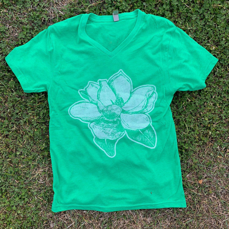 Image of Adult V Neck Magnolia in Envy Green