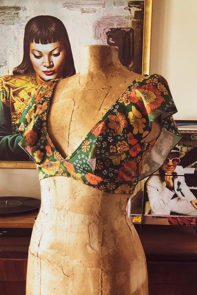 Image of Frill strap bikini top in green garden print