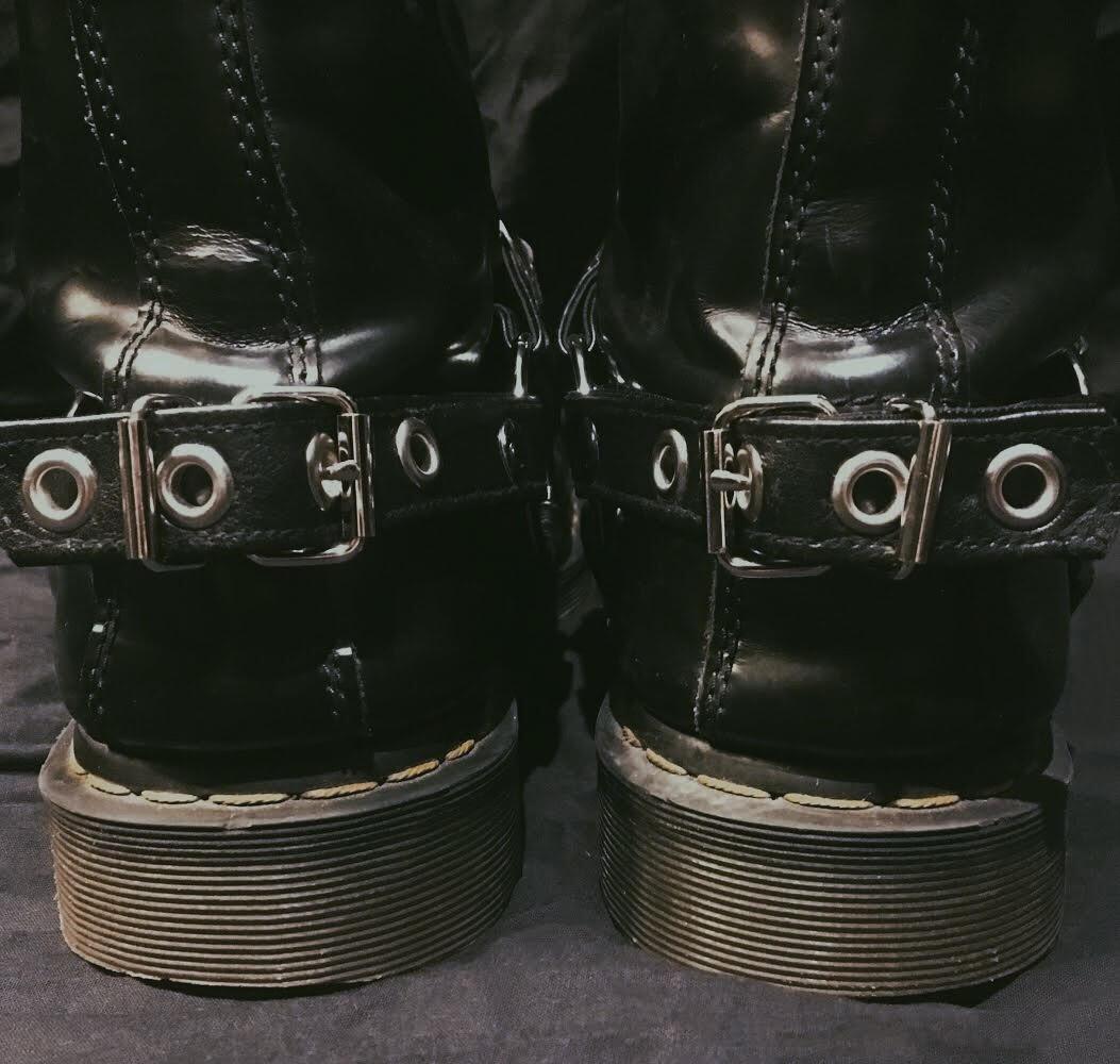 Concho boot straps vegan leather