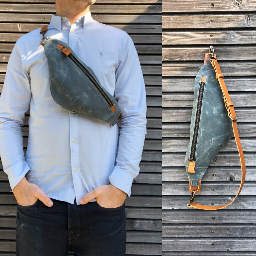 Image of Waxed canvas sling bag / fanny pack / chest bag with leather shoulder strap
