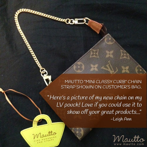 """Image of GOLD Chain Purse Strap - Mini Classy Curb Chain - 1/4"""" Wide - Choose Length & Clip Style"""
