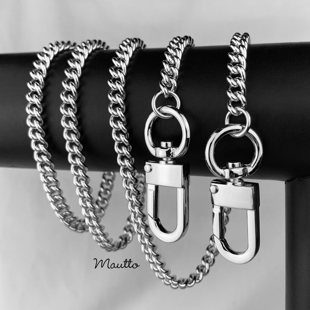"Image of NICKEL Chain Purse Strap - Mini Classy Curb Chain - 1/4"" Wide - Choose Length & Clip Style"