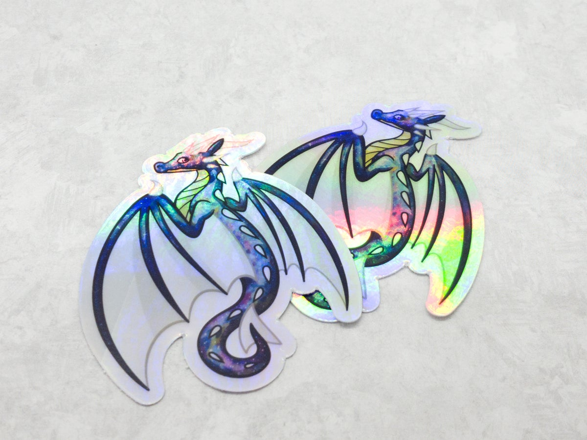 Holographic Galaxy Dragon Sticker - 3 Inch