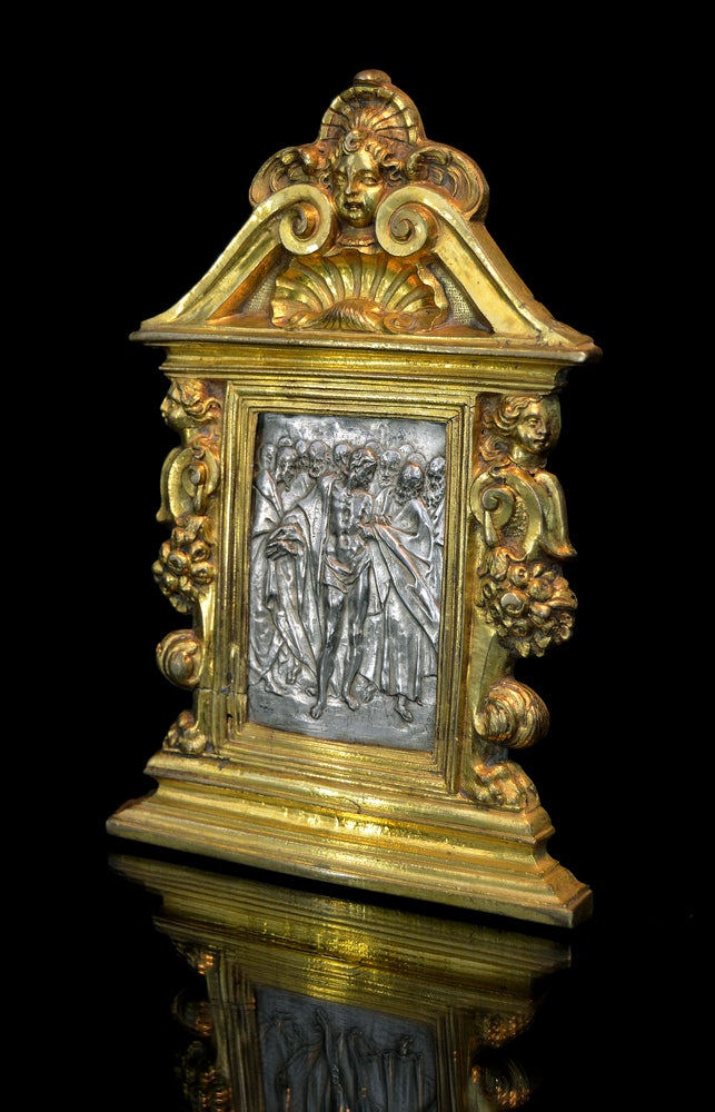 Image of A silver and gilt bronze pax by Antonio Gentili of Doubting Thomas