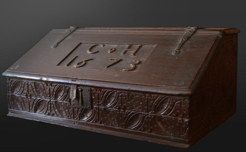 Image of A large English slope-lidded Bible Box, dated 1673