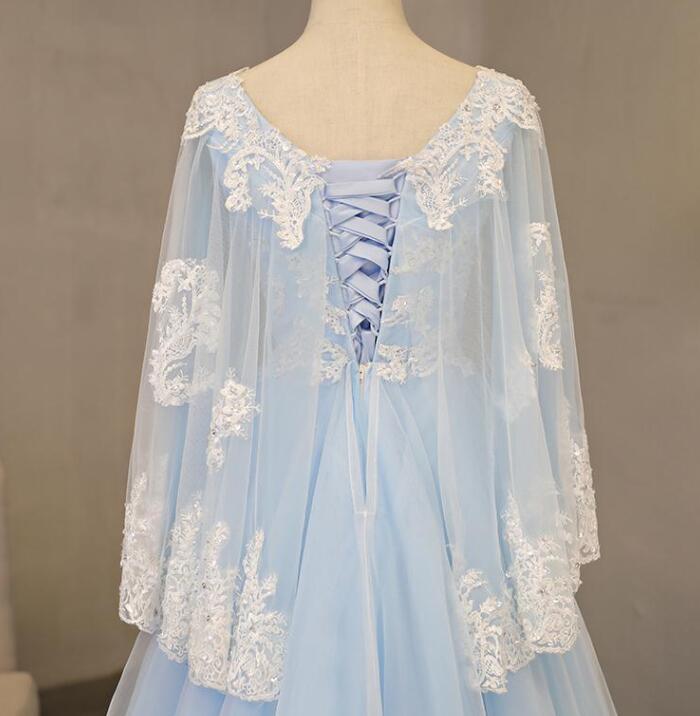 Charming Blue Tulle V-neckline Long Party Dress, Blue Prom Dress