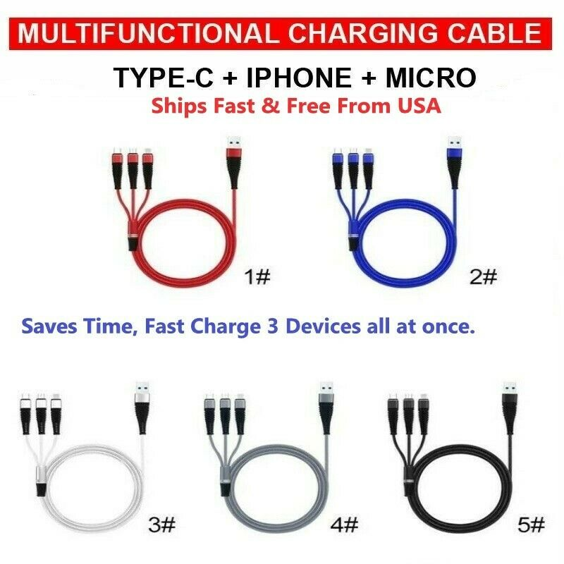 Image of 3 in 1 Fast USB Charging Cable Universal Multi Function Cell Phone Charger Cord
