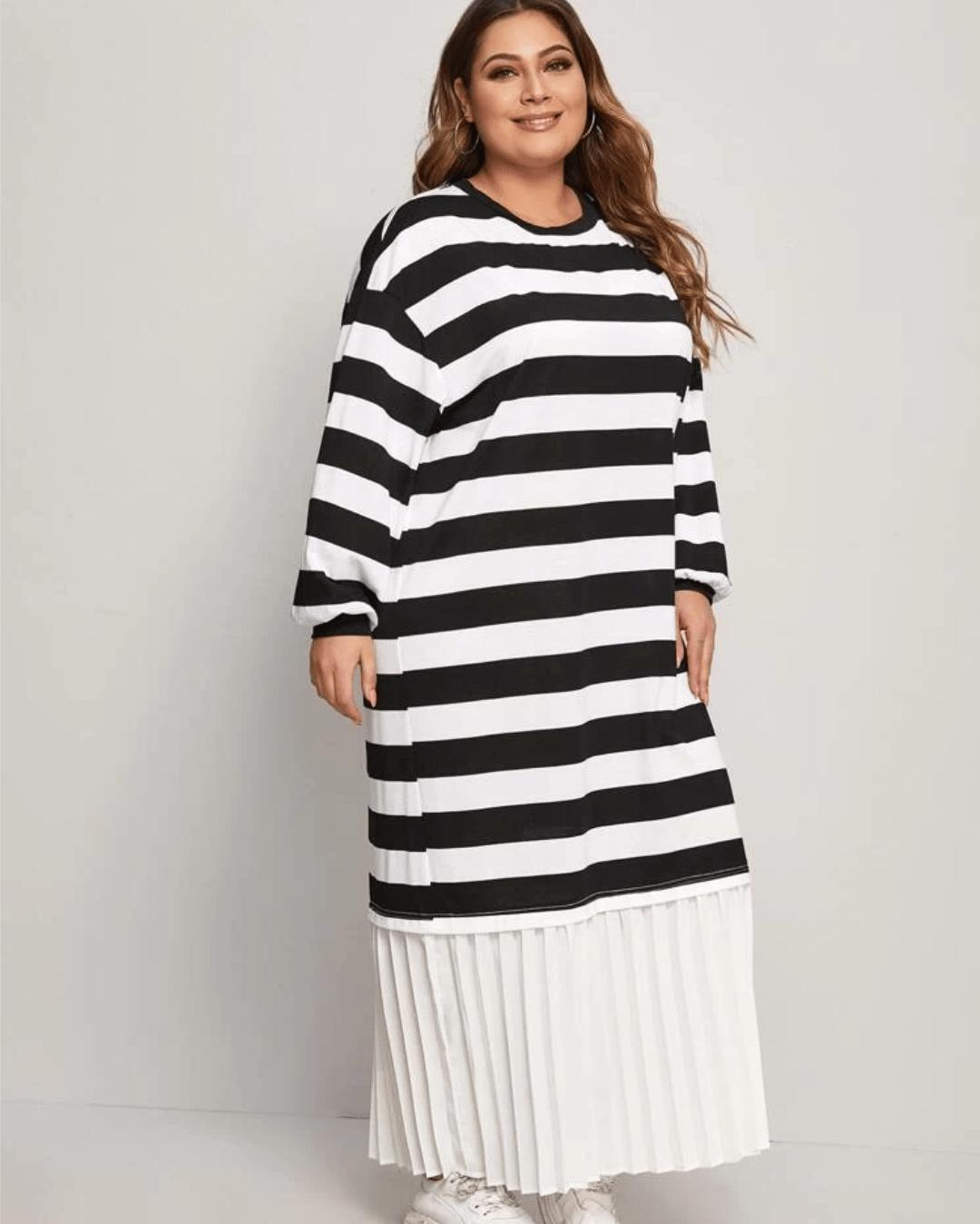 Image of Ballon Sleeve Pleated Hem Flounce Hem Two Tone Striped Dress
