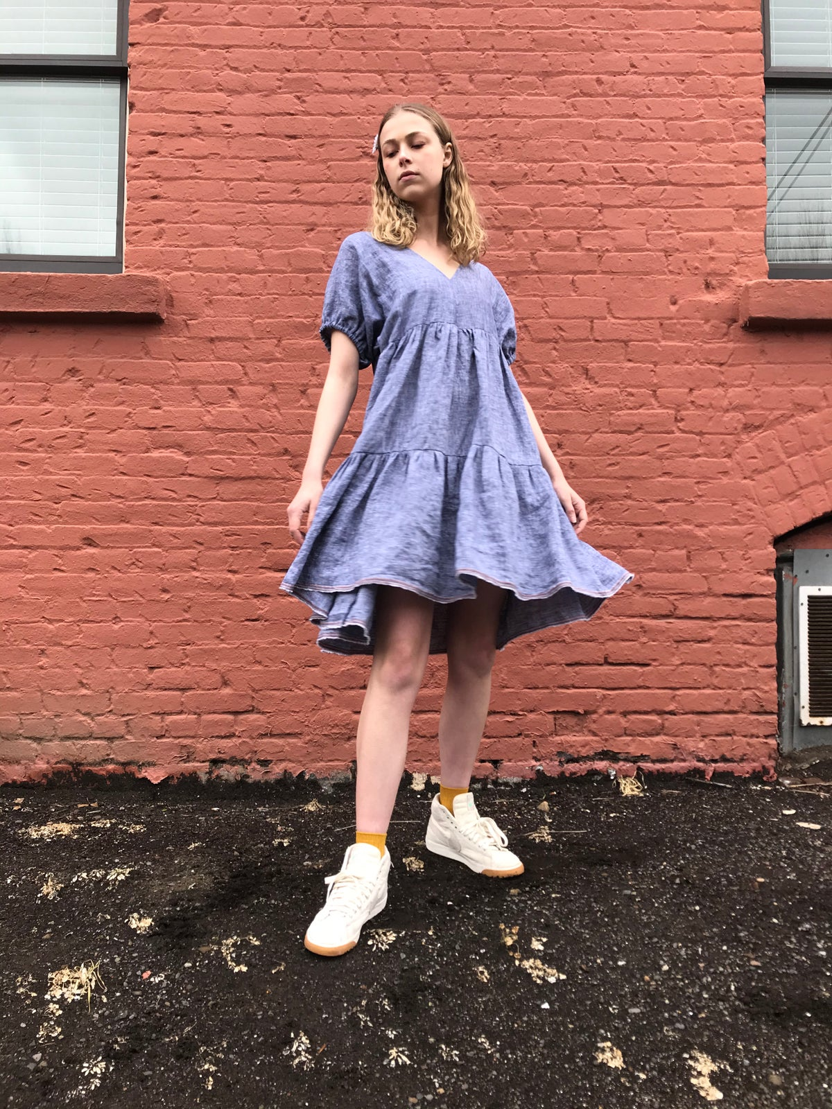 Image of Chambray Linen Tiered Dress