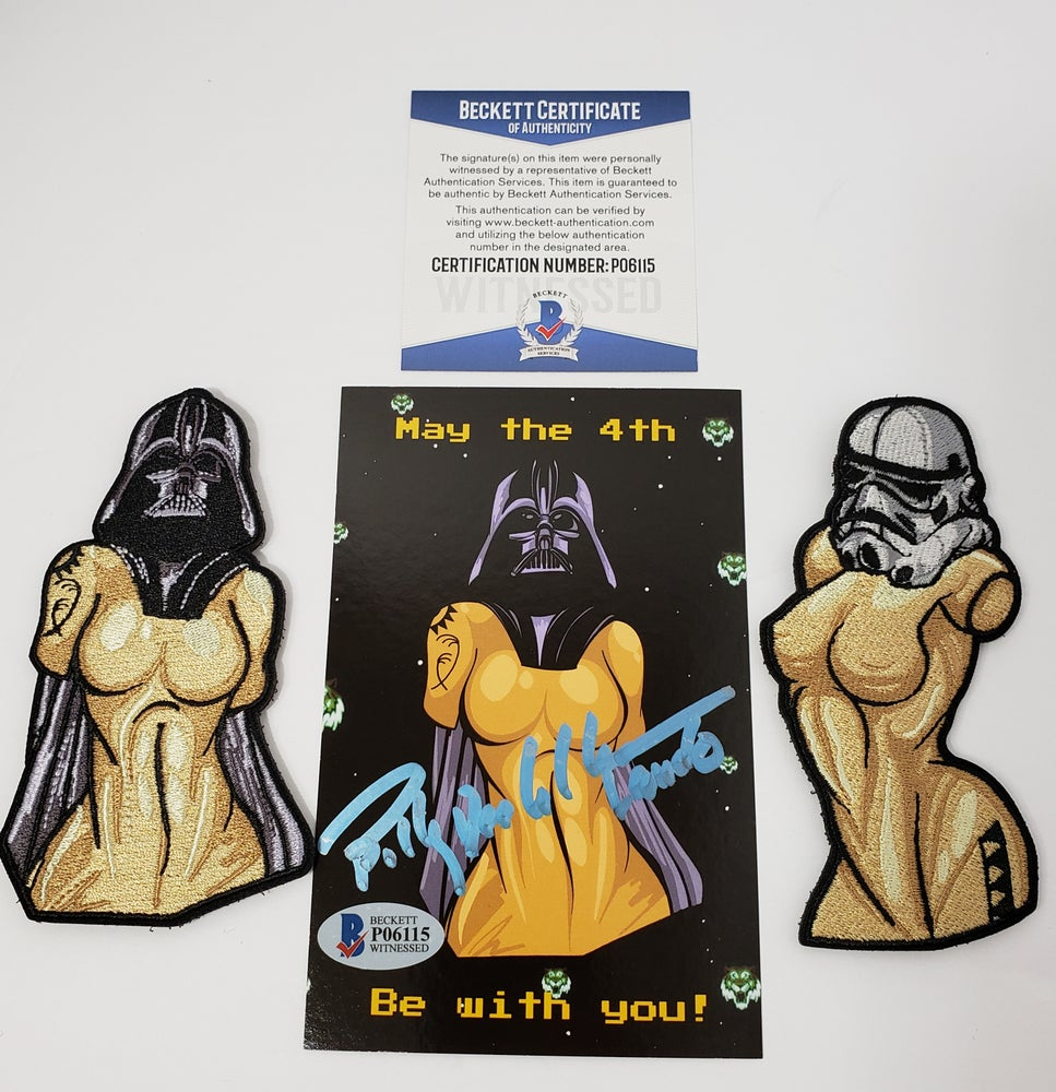 Image of Star Wars bust set signed postcard by Billy Dee Williams