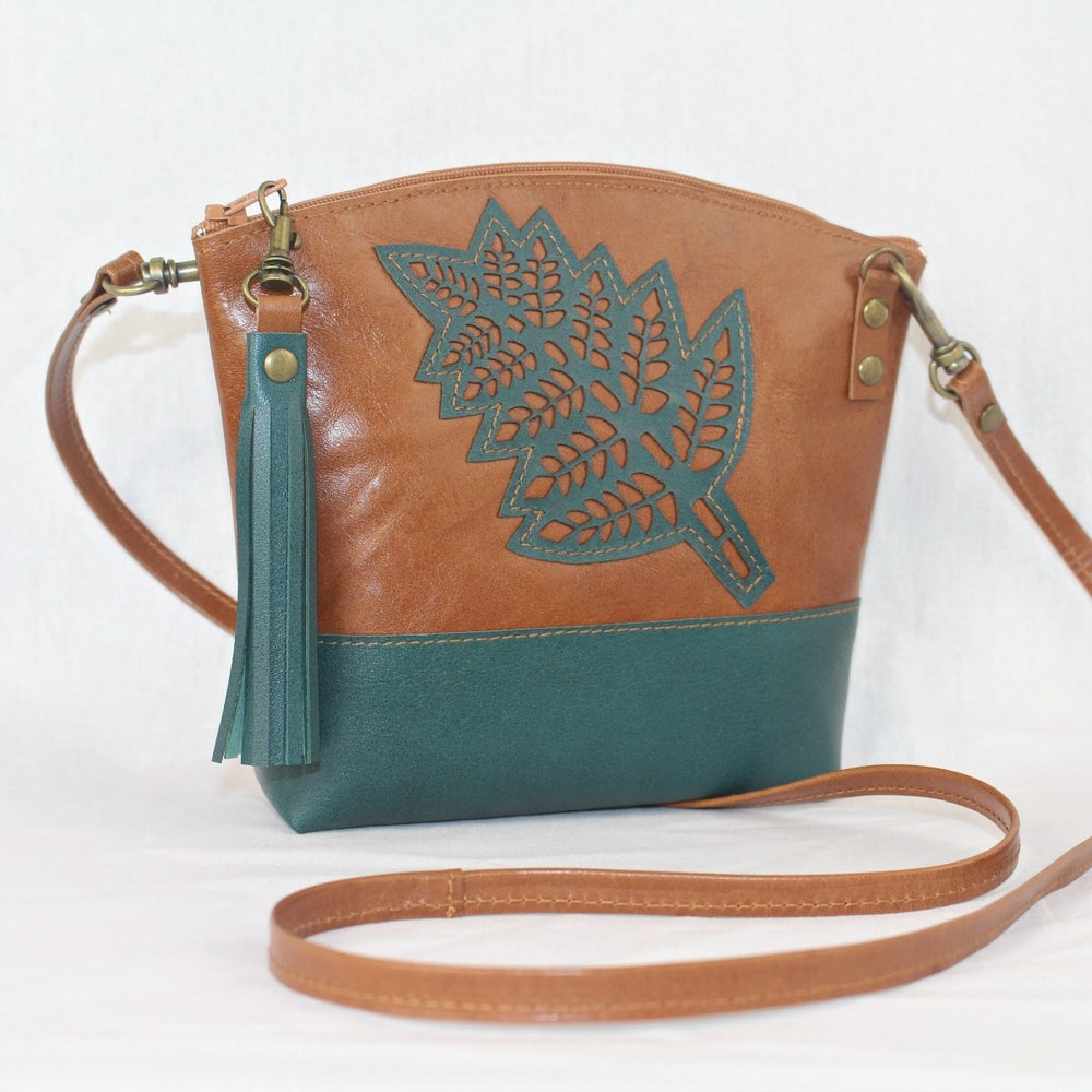 Image of Leather Dance Bag - Curved Fern Tan & Green