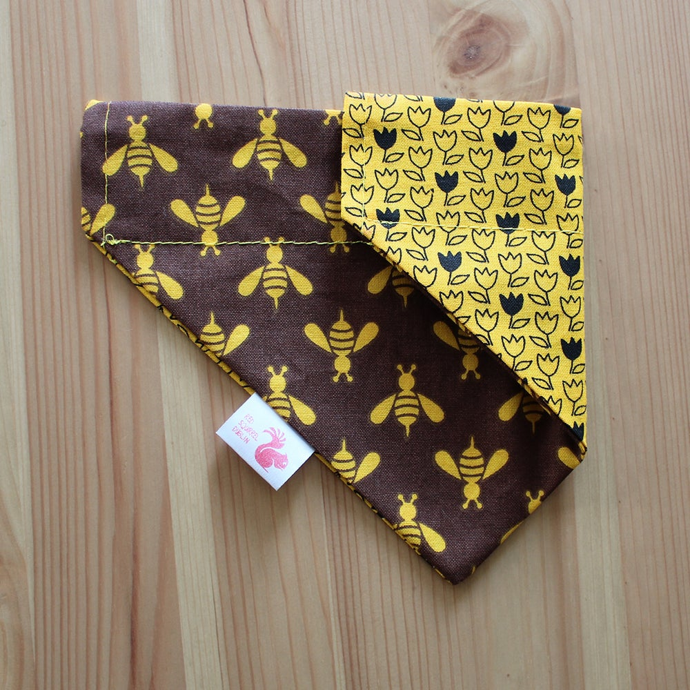 Image of Bees and tulips dog & cat bandana