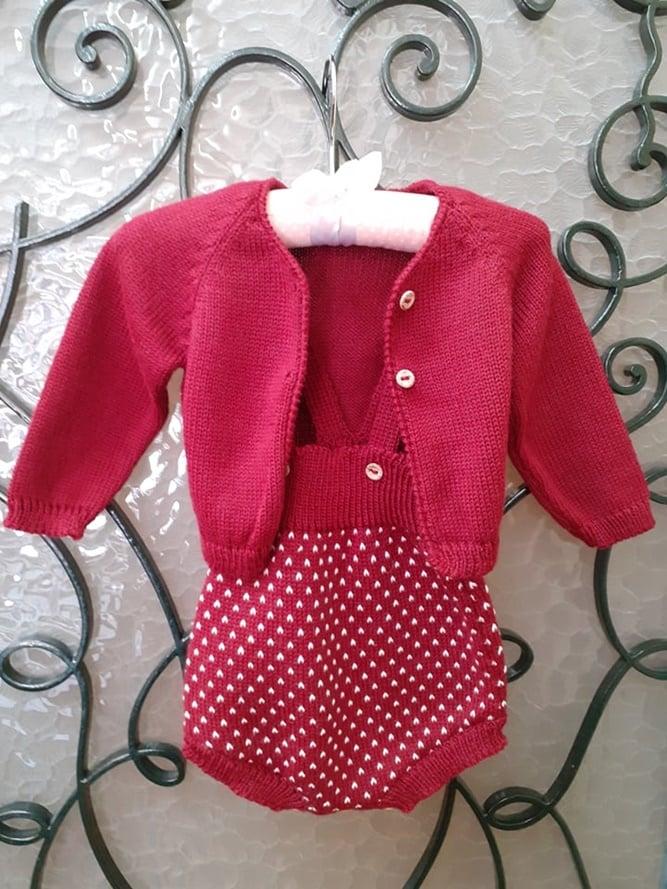 Conjunto de tricô de bebé 1-3 meses
