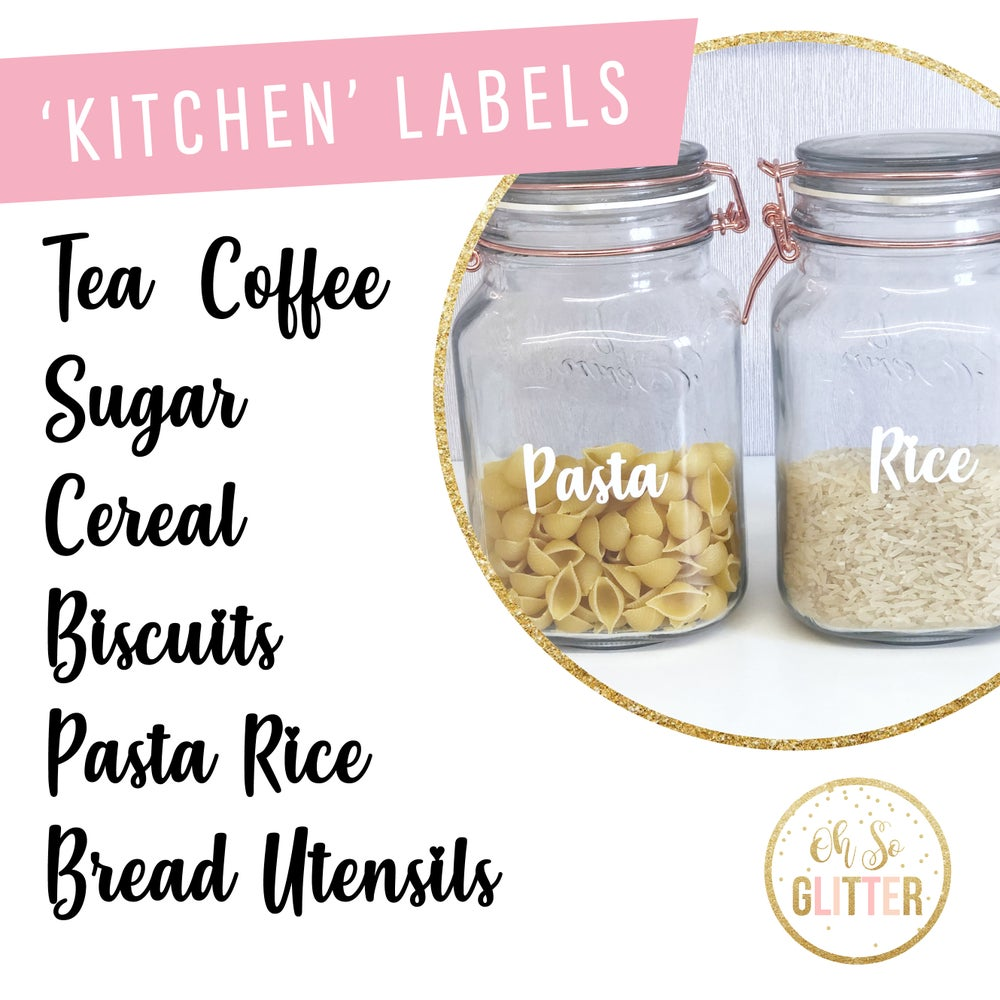 Image of Kitchen Pantry Labels - black or white