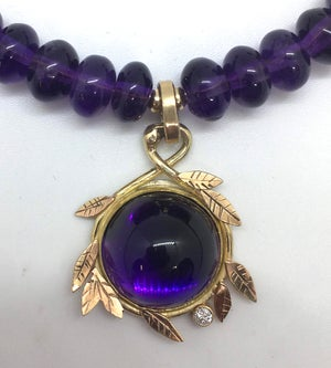 Image of Amethyst, diamond, gold necklace