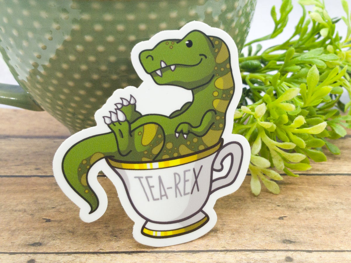 Tea Rex Vinyl Sticker - 3 Inch