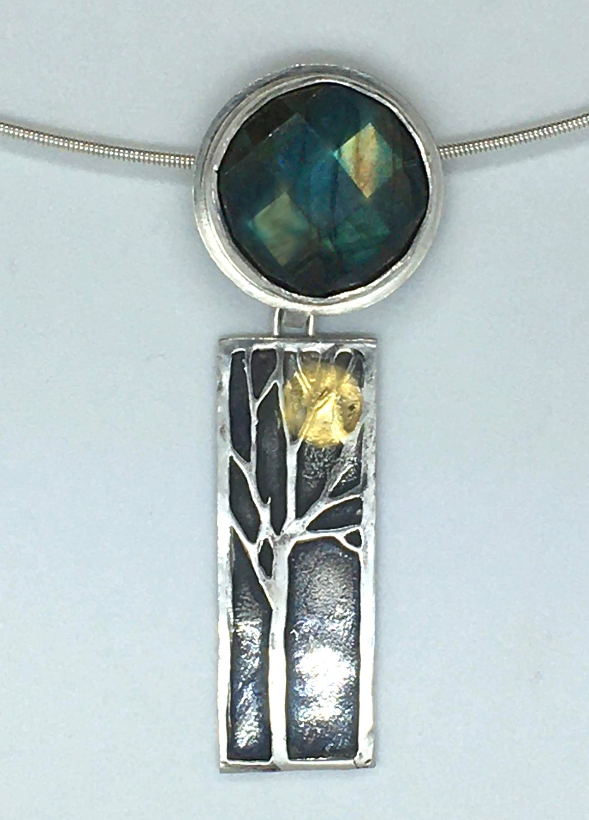 Image of Tree pendant with 24k gold moon and labradorite on neck cable